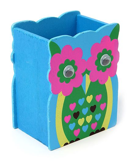 India Desire: Wooden Pen Stand Flower Design - Blue And Pink @1/-