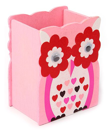 India Desire: Wooden Pen Stand Flower Design - Pink And Red @1/-