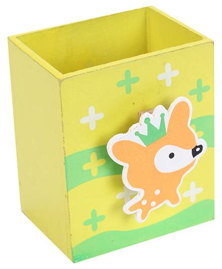 India Desire: Fab N Funky Wooden Pen Stand Rat Face Design - Lemon Color @1/-