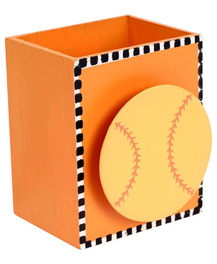India Desire: Fab N Funky Wooden Pen Stand Baseball Design - Orange @1/-
