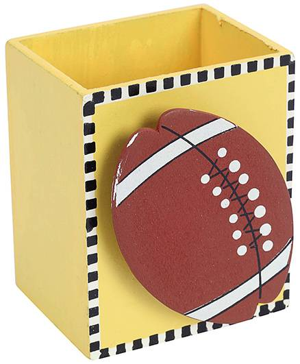 India Desire: Fab N Funky Wooden Pen Stand Rugby Ball Design- Orange @1/-