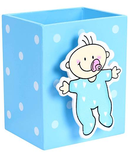India Desire: Fab N Funky Pen Stand Baby Design - Blue @1/-