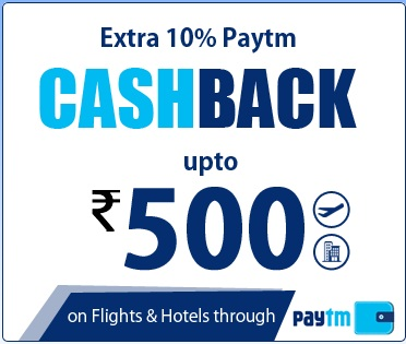 Paytm Extra 10% CashBack Upto Rs. 500 On Flights & Hotels