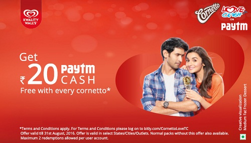 paytm cornetto Buy Cornetto and Get Free Rs 20 Paytm Cash