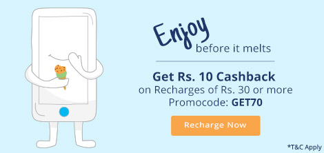 India Desire : Paytm GET70: Rs 10 Cashback On Rs 30 Or Above Recharge & Bill Payments [All Users]