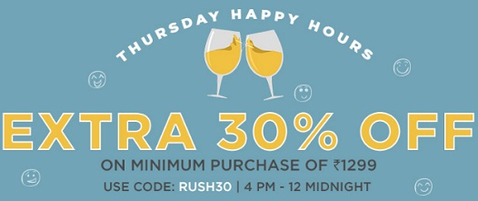 India Desire : Jabong Happy Hour Sale : Extra 30% Off On Minimum Purchase Of Rs 1299 Today [Till Midnight]