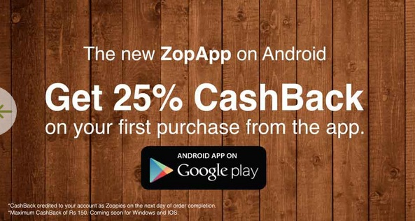 Get 25% Cashback On Your First Purchase At Zopnow App